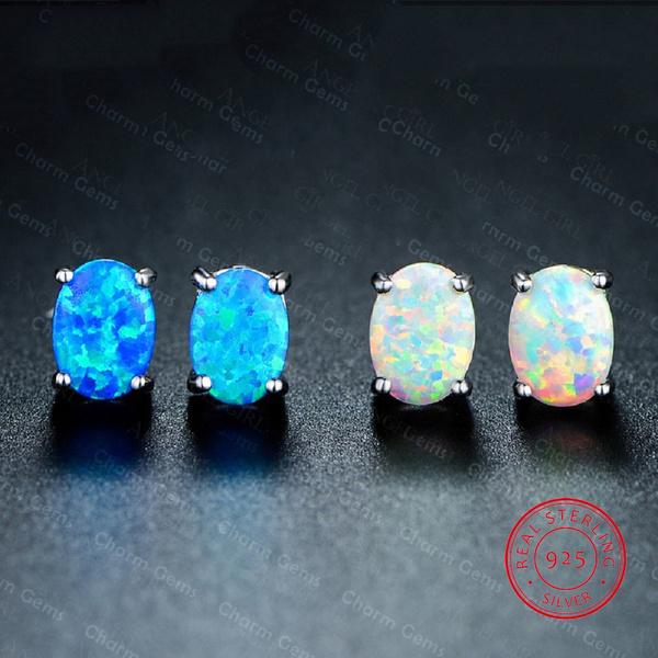 Blues, Sterling, Silver Jewelry, opalearring