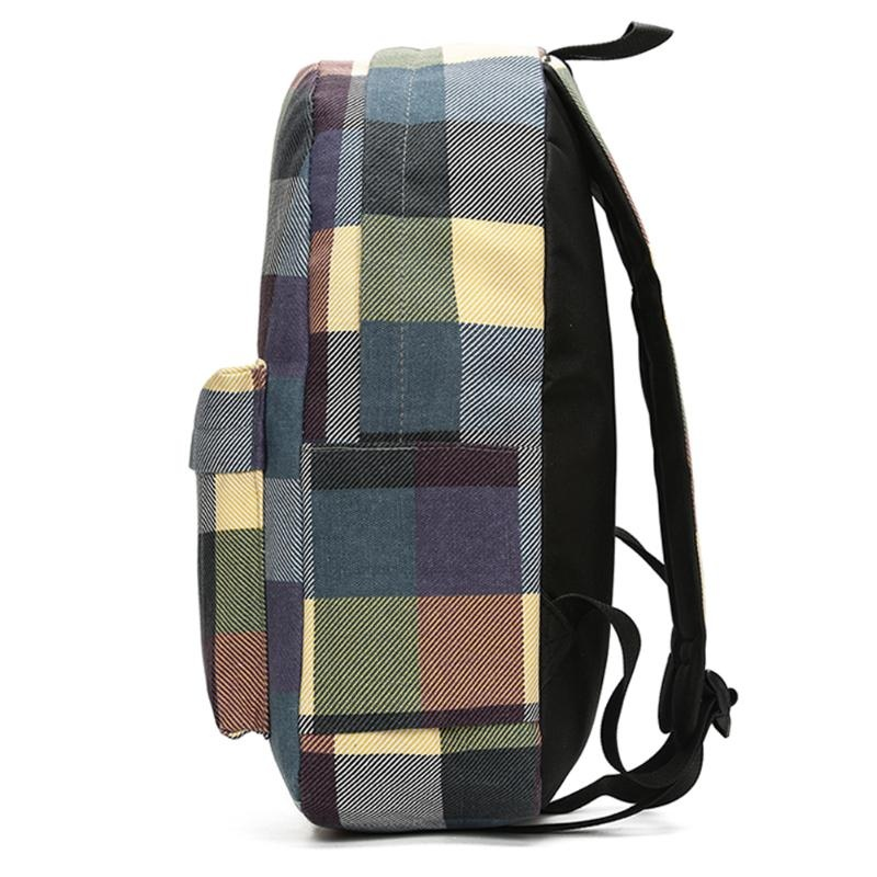 6c9afbc245 Unisex Canvas Concise Checkered Backpack Leisure College Style Bags ...