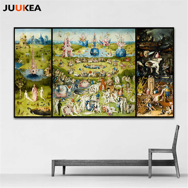 The Garden of Earthly Delight And Hell by Hieronymus Bosch HD Details  Canvas Print Painting Art, Home Decoration For Living Room