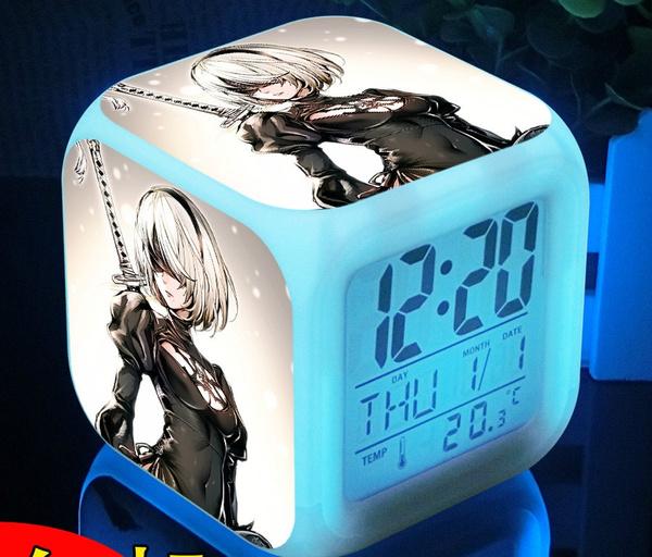 Elizabeth Silver Soul Sakata Gintoki Gintama 7 Color Change Digital Alarm Clock
