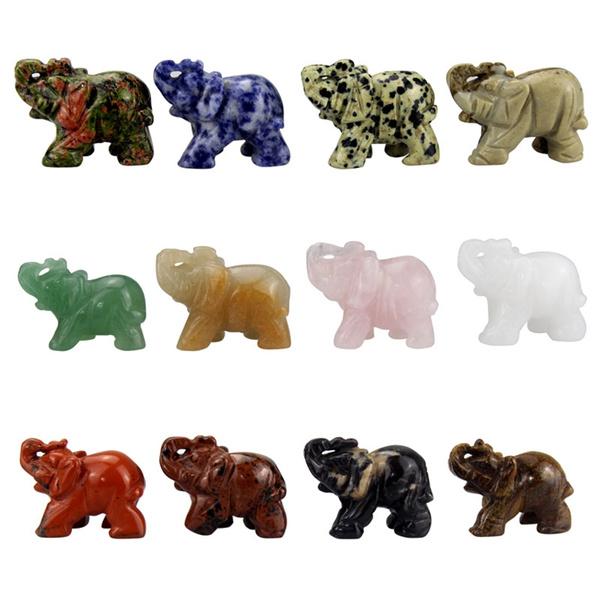 Dalmation Jasper Elephant Statue Natural Gemstone Crystal Animal Figurine Decor