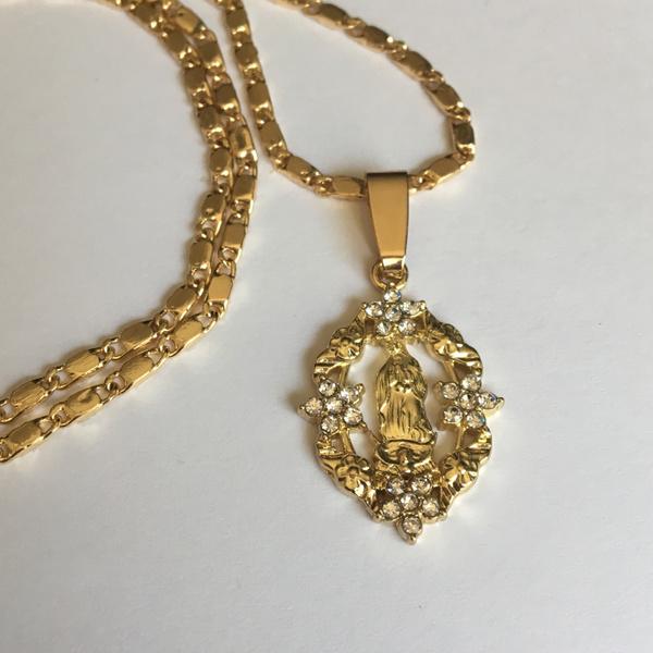2f8d472d8a3 14K Gold Our Lady of Guadalupe Pendant with Necklace Oro La Virgen de Guadalupe  Medalla con Cadena | Wish