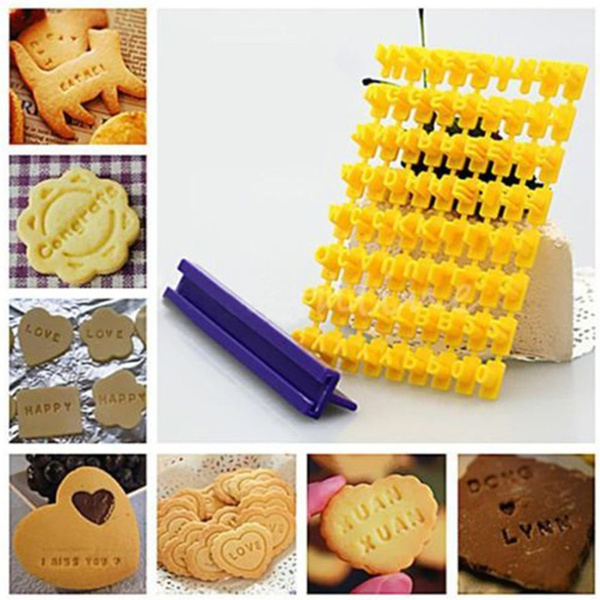Fondant Cake Alphabet Embosser Letter Stamp Number Cookies Mold Cutter Biscuit