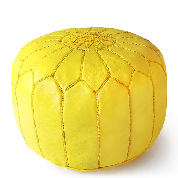 Fantastic Berber Bazar Moroccan Pouf Luxury Seat Genuine Leather Poufs Ottoman Embroidered Yellow Color Theyellowbook Wood Chair Design Ideas Theyellowbookinfo