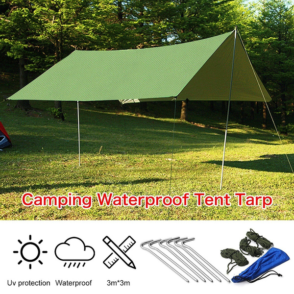 3X3m Portable Waterproof Camping Tent Tarp Awning Sun Shade Rain Shelter  Mat Hammock Cover with 6 Aluminum Spike and 6 Cable Wind Rope