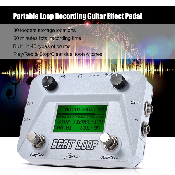 Loop Recording Pedal Rowin BEAT LOOP Loop Recording Guitar Effect Pedal  Looper Max  50min Recording Time Built-in 40 Drum Sounds with Pedal  Footswitch