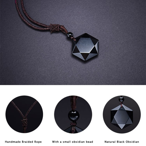 490e8232d8a9c Natural Black Obsidian Pendant Necklaces For Women and Men Cubic Hexagram  Sweater Necklace Energy Stone Amulets And Talismans