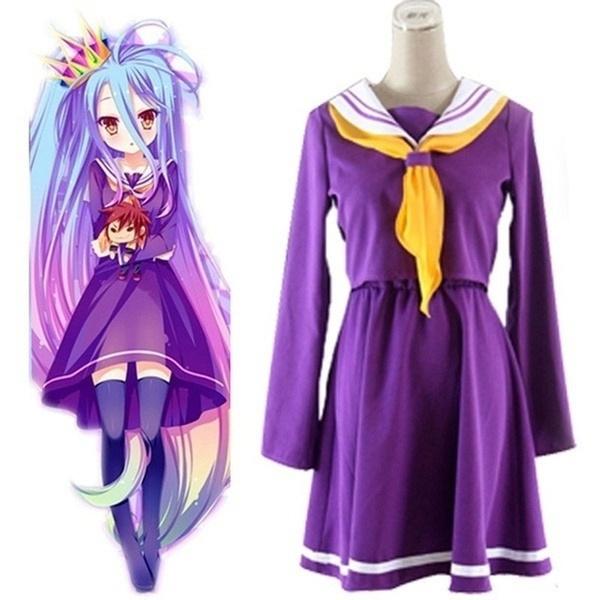 No Game No Life Shiro Emboitement Heroine Purple Sailor Suit Cosplay Costume