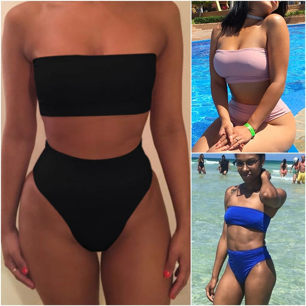 e42096e039 Women's Strap Wrap Tube Top High Waist Bikini Set Bathing Swimsuit ...