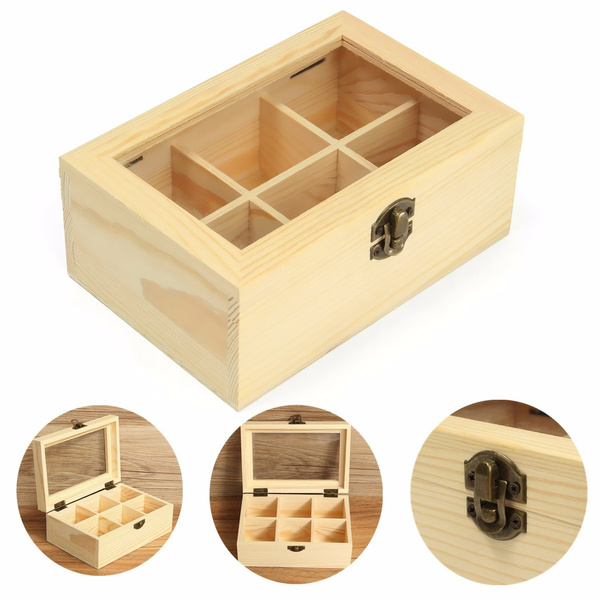 Wish 6 Compartments Wooden Tea Storage Box Case Container Jewelry