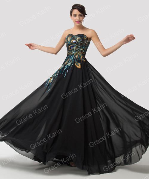 Wish Women Ladies Vintage Peacock Masquerade Bridesmaid Gowns
