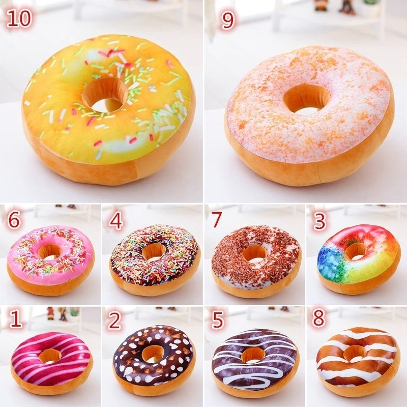 Material: High Quality Plush Stuffed With PP Cotton. Theme:Food Pattern:  Doughnut Size: Approx 40cm X 40cm X 12cm. Package Included: 1 X Pillow Cover