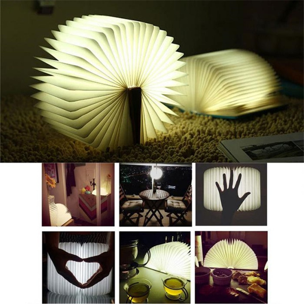 Creative Decoration Pages Pliantes Led Forme Du Livre Five Color Night Light Lampe D Eclairage Portable Booklight Usb Rechargeable Couleur De La