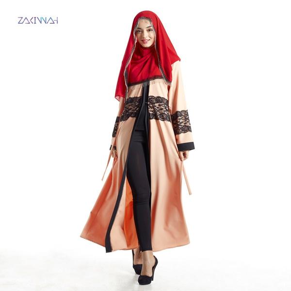aaf74e18a9378 Women Bohemian Abaya Femme Islamic Clothing Female Muslim Apparel Ladies  Solid Lace Kaftan Long Vestido Print Turkish Maxi Dress