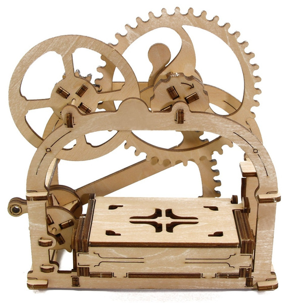 Mechanical 3d Wooden Puzzle Box Card Holder Moving Diy Model Kit Jewelry Gear Box Kids Gift Etui Casket