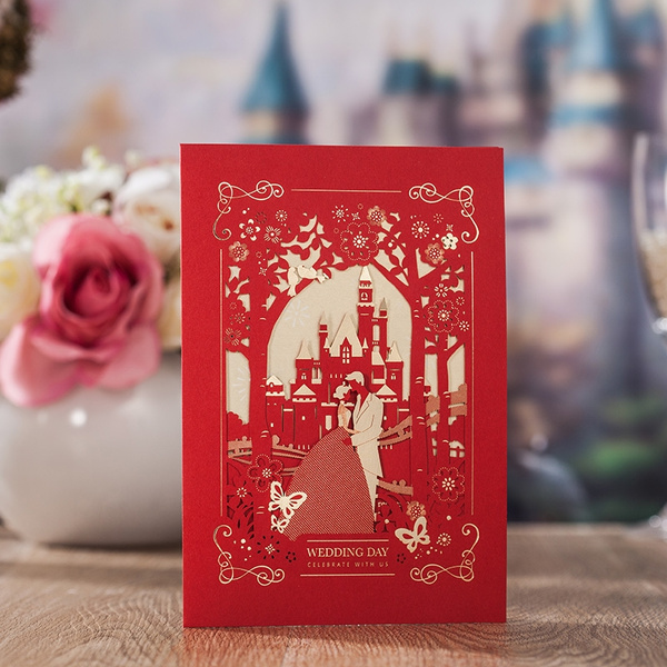 Luxury Red Laser Cut Hollow Castle Wedding Invitations Elegant Dinner Party Invite Card Wishmade Cw7009