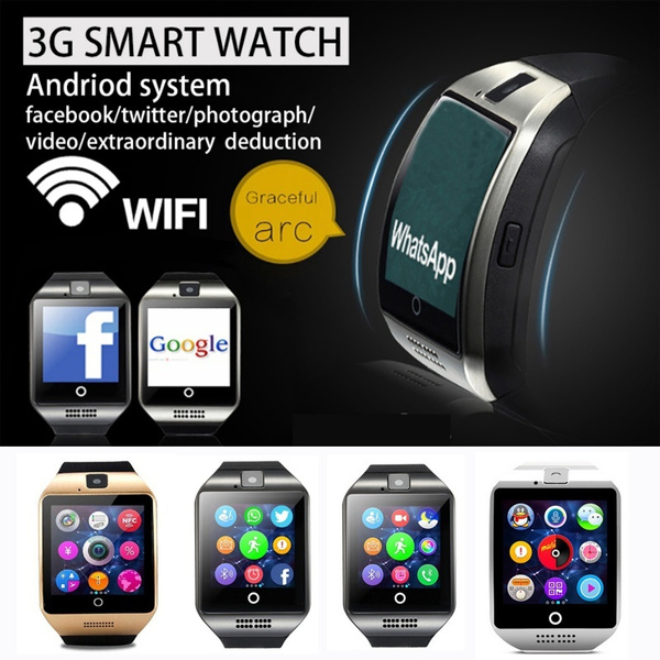 Waterproof Smart Watch Phone Android Wristwatch Q18 Plus with Camera 3G SIM  Card Slot Bluetooth Fitness Tracker Pedometer Music