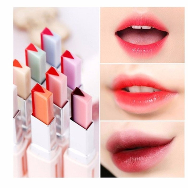 New Design For Women Ladies Moisturizing Gradient Color V Shape Cutting Two Tone Tint Silky Makeup Double Colors Lipstick Balm Lip Cosmetic by Wish