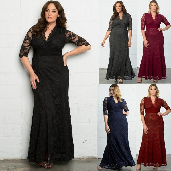Vestiti Lunghi Eleganti Wish.2017 Women Ladies Sexy Lace Long Dress Fashion Plus Size Tunic