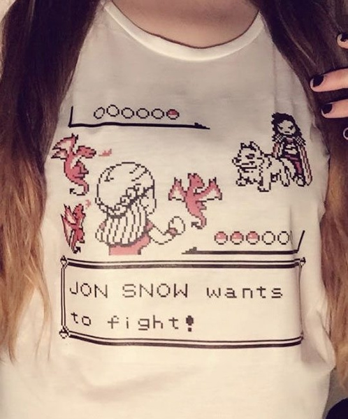 Jon Snow Wants To Fight Unisex Game Of Thrones Funny T Shirt Cute Cartoon Anime Cool T Shirt Summer Casual White Tee by Wish