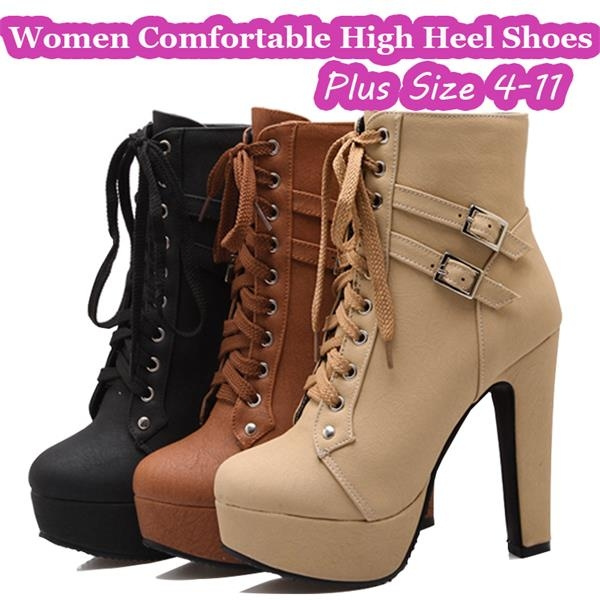 Women Comfortable Platform Heels Lace