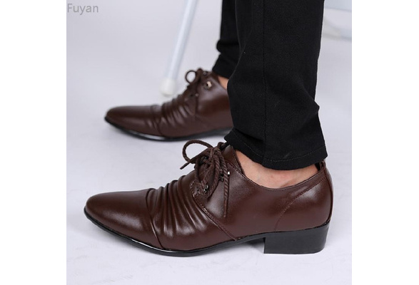 Fuyan New Fashion Men Dress Shoes Wedding Casual Lace Up Office