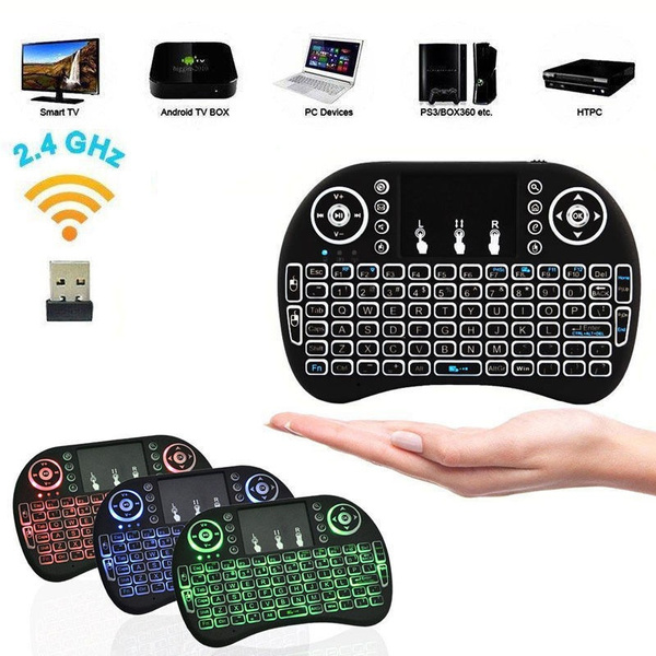 Wish | Mini i8 2.4GHz 3 Colors Backlit Wireless Keyboard Touchpad for PC TV Box Android