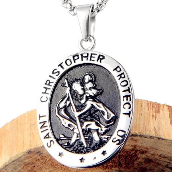 SAINT CHRISTOPHER PROTECT Pendant Necklace unisex Chain Amulet Jewelry