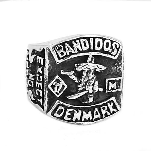 Denmark Bandidos Biker Ring Stainless Steel Jewelry Punk MC Club One  Percent 1% Motor Biker Skull Ring for Men Size 7-14