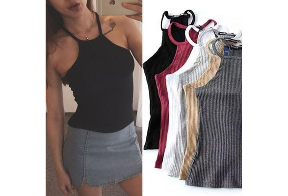 Women   Summer Tops Off Shoulder Tank Top Knitted Cotton Halter Cropped Blouses Vest