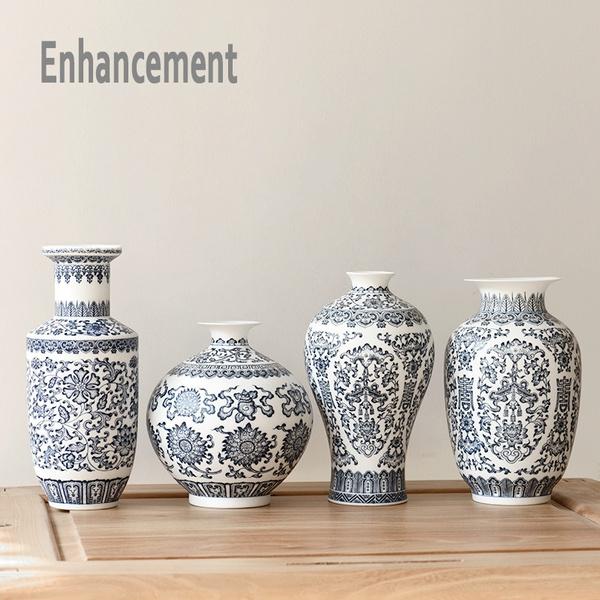 Wish Blue And White Ceramic Vase Design Porcelain Flower Bat