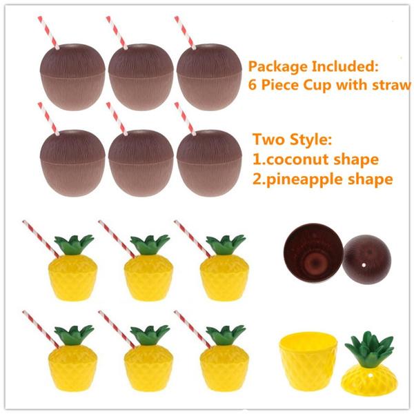 Plastic Tropical Pineapple Drink/&Cup Straw Hawaiian Luau Summer Party Decor