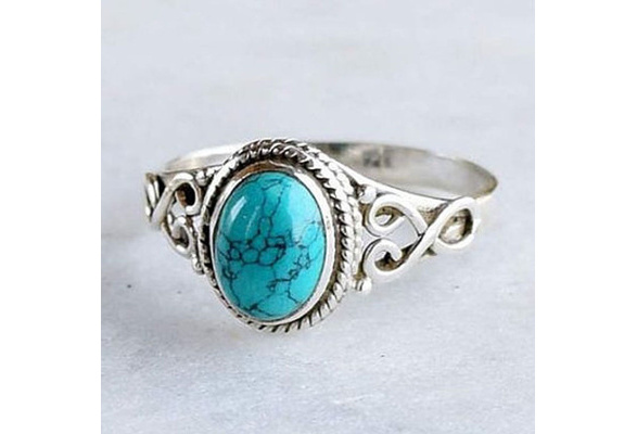 Antique Jewelry 925 Sterling Silver Turquoise Natural Gemstone Bride Wedding Engagement Vintage Ring Gifts Size 6-10