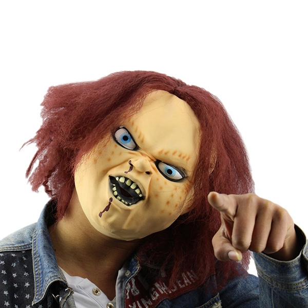 Halloween Maskerad.Horror Latex Mask For Child Play Chucky Action Figures Masquerade Halloween Party Bar Supply Color Beige