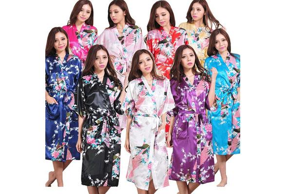 Women Silk Satin Long Wedding Bride Bridesmaid Robe Peacock Bathrobe Floral Kimono Robe