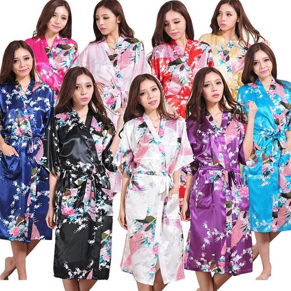 peacock, kimonobathrobe, Satin, sleepweardres