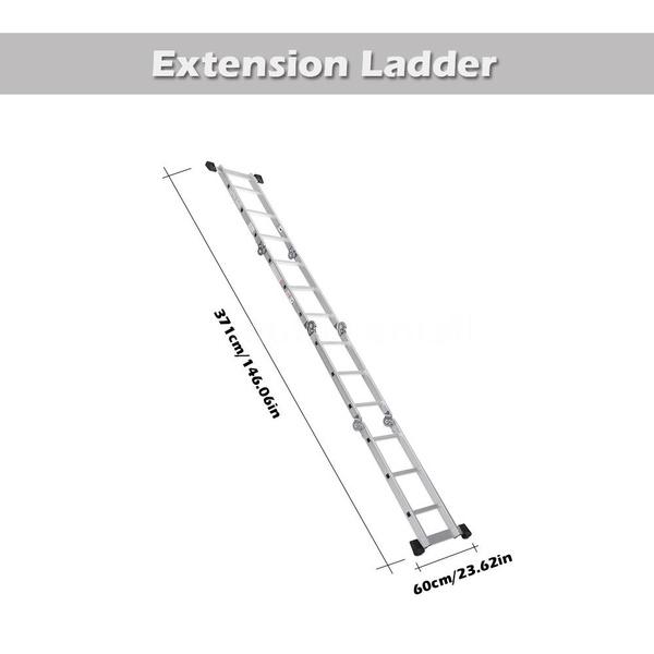 IKayaa 7 in 1 Multi Purpose Step Ladder Folding Scaffold Aluminum Extension  Ladder Work Platform W/ Safety Locking Hinge 330LB/150KG Capacity EN131