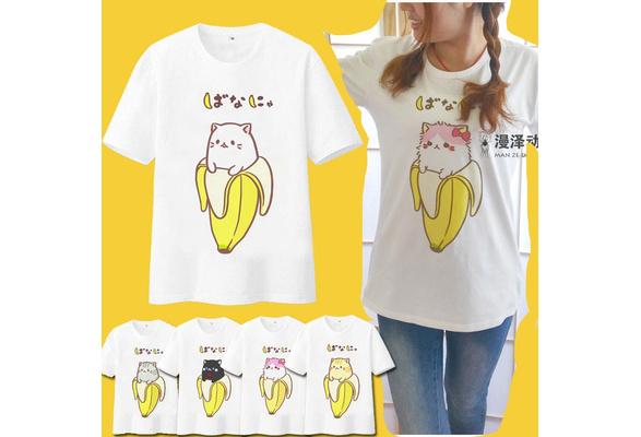 5672e8cde8b7bc Wish | Bananya Cosplay T-shirt Bananas Cat Lurking In Bananas Men Tshirt  Summer Cotton Tees Tops New Japan Anime