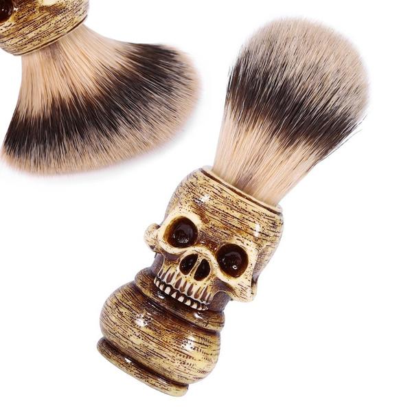 wish men shaving brush resin skull head badger beard brush