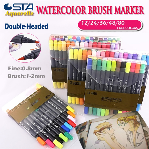 Sta Watercolor Dual Brush Marker Soft Flexible Tips For Drawing Blending As Tombow Aquarelle Calligraphy Pen Anime Comic Markers