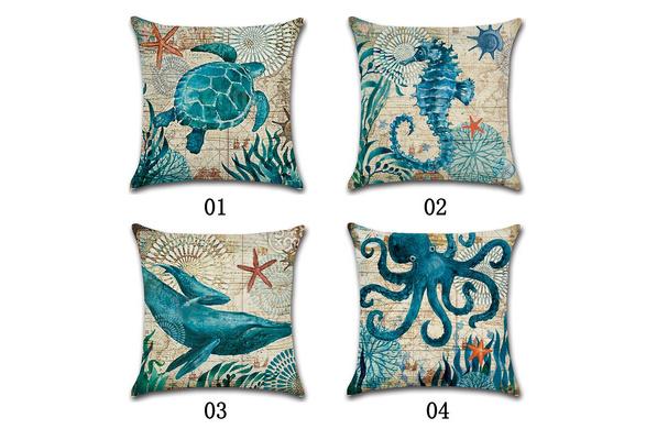 Cotton Linen Pillowcases Throw Vintage Aquatic Creatures Cushion Cover Pillow Case Sofa Car Home Decor