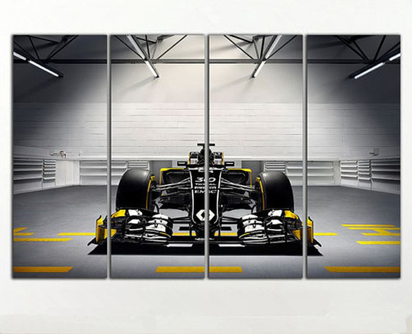 Wish large 56x35 4 panelsl art canvas print formula 1 renault sportcar poster wall home decor interior no frame