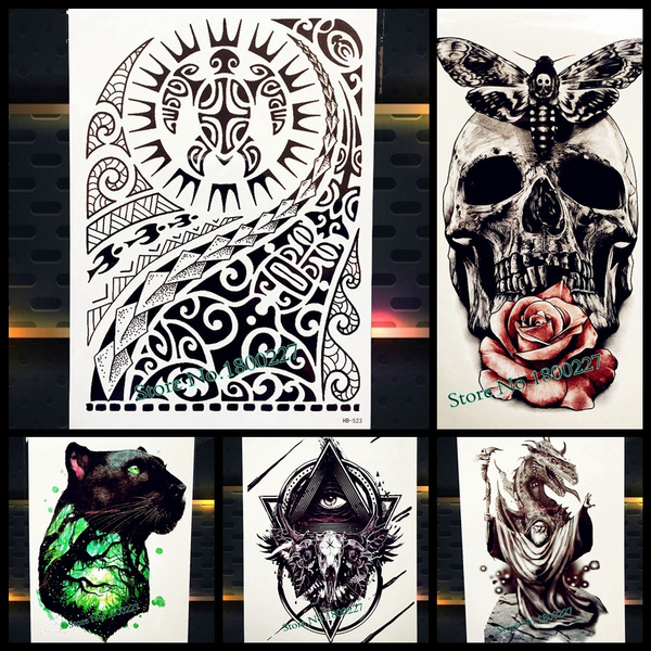 Large Body Art Arm Sleeves Temporary Tattoo Sticker Fast Furious Dwayne Rock Johnson Tattoo Fake Tatoo Men Indian Totem Buy Two Piece Will Get One