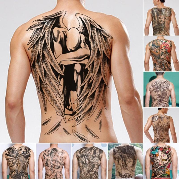 44b0128af066b Waterproof Temporary Tattoo Sticker Koi Lotus Women Men'S Whole Back ...