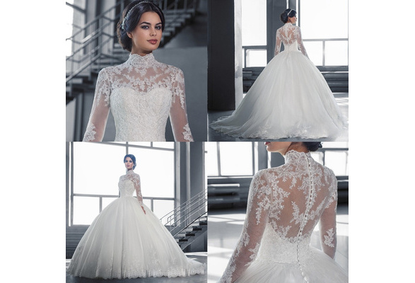 2018 Luxury Cathedral Train Ball Gown Lace Wedding Dresses 2017 Real Photo Long Sleeves Bridal Gowns Vestido De Novias