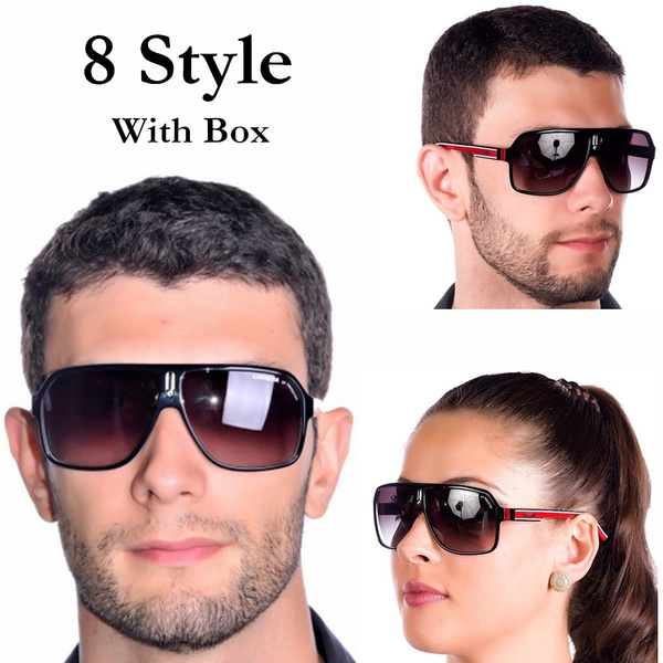 New Men Women Retro Sunglasses Fashion Eyewear Square Frame Carrera Glasses+Box