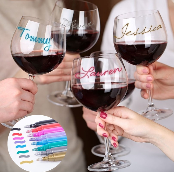 Write On Glass Wine Glass Markers Wine Pens Set Of 4pcs Mixed Colors