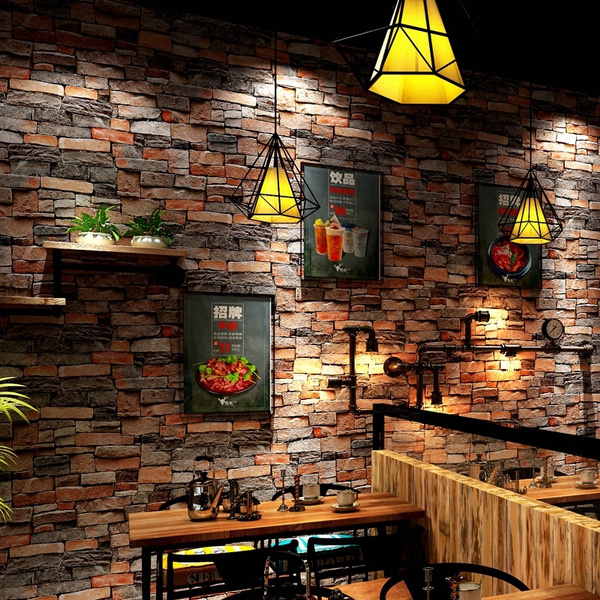 3D PVC Stacked Brick Stone Wallpaper Roll Brick Wall Background for Living Room