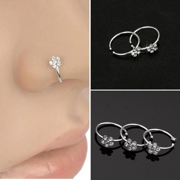 Body Piercing Jewellery Plum Flower Rhinestone Nose Stud Hoop Sparkly Nose Rings Unisex Body Piercing Fashion Jewellery Wvpd Org