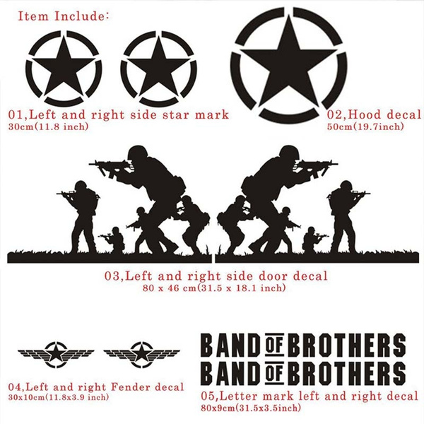 Wish band of brothers vinyl sticker side skirt decal whole body graphic decal for jeep wrangler and any motorcyclesuvtruck or sedan car color black